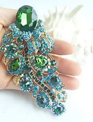 Women Accessories Gold-tone Turquoise Green Rhinestone Crystal Flower Brooch Art Deco Brooch Bouquet Women Jewelry