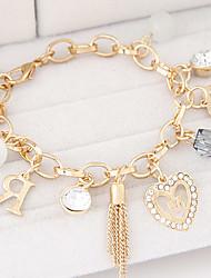 Femme Charmes pour Bracelets Strass Alliage Mode Argent Doré Bijoux 1pc