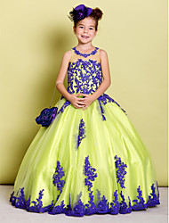 LAN TING BRIDE Ball Gown Floor-length Flower Girl Dress - Tulle Jewel with Beading Appliques