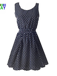 ZAY Women's Casual Round Sleeveless Above Knee Dress(with Dot)