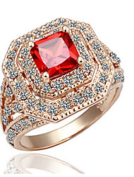 Ring,Gold Plated AAA Cubic Zirconia / Imitation Ruby Birthstones Jewelry Statement Rings