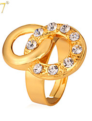 U7® Women's Clear Brilliant Cut Rhinestone 18K Real Gold Plated Two Linked Circles Statement Ring