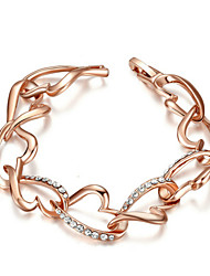T&C Women's Lovely Heart-Link Bracelet 18K Rose Gold Plated Use Clear Crystal Cute Heart Link Bracelet