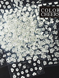 24PCS Mix Silver Flower White Background Sticker Nail Art Nail Decorations