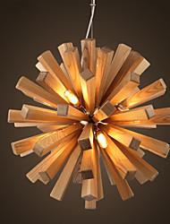 Modern Art Wooden Pendant Chandelier Lamp Rural Industrial Vintage Lamp Led Light LOFT Bar Decoration Lamps