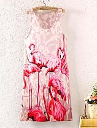 женская без рукавов птица графический принт мини-платье