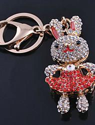 Cute Rabbit Rhinestone Keychain