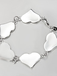 Casual S925 Silver Plated Heart Charm Bracelet ID Bracelets Fine Jewelry 2015 New Products