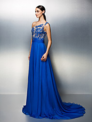 A-Line One Shoulder Court Train Chiffon Formal Evening Dress with Beading Crystal Detailing Lace Sash / Ribbon Ruching by TS Couture®