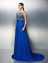 Robe - Bleu royal Soirée formelle A-line Épaule asymétrique Traîne moyenne Mousseline polyester