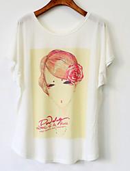 Summer Women's Cute Micro-elastic Short Sleeve Regular T-shirt (Cotton Blends)