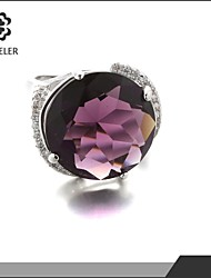 Statement Rings Zircon Cubic Zirconia Platinum Plated Simulated Diamond Fashion Purple Light Brown Jewelry Party 1pc