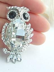 Women Accessories Silver-tone Clear Rhinestone Crystal Owl Brooch Art Deco Scarf Brooch Pin Women Jewelry