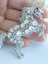 Women Accessories Silver-tone Clear Rhinestone Crystal Unicorn Horse Brooch Art Deco Crystal Scarf Brooch Women Jewelry