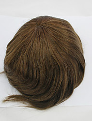 Stock Mens Toupee Hair Replacement All Swiss Lace #4 Medium Brown Hairpiece Hair System Size Adjustable