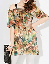Women's One Shoulder/Straps Tops & Blouses , Chiffon/Polyester Sexy/Casual/Print/Party/Work ½ Length Sleeve AWX