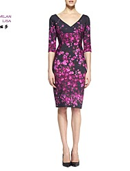 MILANLISA®Women's 2015 New European Major Suit With Mature Printing Five Sleeve Slim Dress