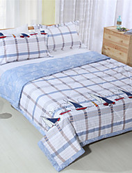 Patchwork Plaid Bed Covers Summer Quilt for Boys Reactive Printing 100% Cotton