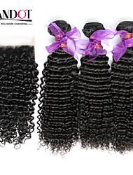 3 пучки перуанский вьющиеся волосы девственница с закрытием необработанного человеческого переплетения волос и бесплатным / средняя часть