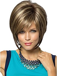 Women Lady Short Synthetic Hair Wigs Pixie Cut wig Short Straight Hair Brown with Blonde Highlights Wig