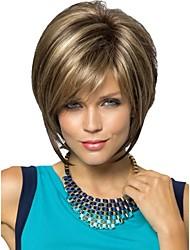 les femmes dame courte perruques de cheveux synthétiques coupe de lutin courte perruque brune cheveux raides avec des reflets blonds