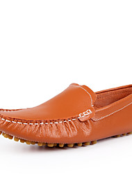 Men's Shoes Wedding/Office & Career/Party & Evening Leather Boat Shoes Black/White/Orange