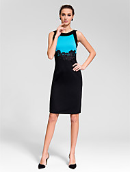Homecoming Cocktail Party Dress Sheath/Column Jewel Knee-length Polyester