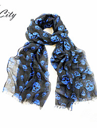 Women Casual Cool Skull Pattern Print Scarf, Black Blue