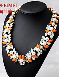 Fashion pearl gem diamond pendant necklace short paragraph Spike Accessories
