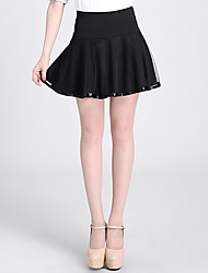 Women's Solid Black Skirts , Casual/Work/Plus Sizes Above Knee Mesh
