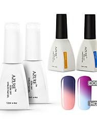Azure  4 Pcs/Lot Soak-off Color Changing UV LED Gel Nail Polish Manicure Varnish(#03+#13+BASE +TOP)
