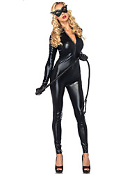 Wild GirlTight Black PU Leather Women's SM Style Sexy Uniform
