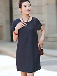 De las mujeres Vestido Sobre la rodilla Lino - Manga Corta