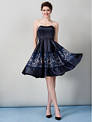 TS Couture® Cocktail Party Dress - Dark Navy A-line Strapless Knee-length Satin