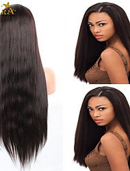 """8""""-26"""" Peruvian Virgin Hair Straight Glueless Full Lace Wig Color #2 With Baby Hair for Black Women"""