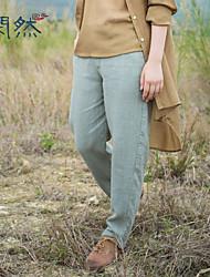 Xianran® Women's Casual/Plus Sizes Pants Long Loose Inelastic Medium Straight Pants Three Colour S-XXL(Linen)