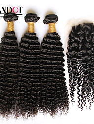 3 Bundles Mongolian Curly Virgin Hair With Closure Unprocessed Human Hair Weave And Free/Middle Part Lace Top Closure