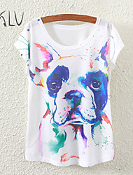 Women's Watercolor Dog Print Casual Stretchy Short Sleeve Regular T-shirt (Polyester)