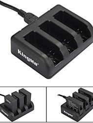 Kingma carregador 3-slot bateria para ahdbt-201 / ahdbt-301 / ahdbt-401 / GoPro Hero 3/3 + / 4 - preto