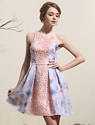 Cocktail Party Kleid - Mehrfarbig Satin - A-Linie - mini - Juwel-Ausschnitt