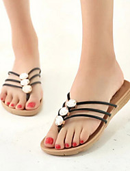 Women's Shoes Patent Leather Flat Heel Flip Flops/Comfort Sandals/Slippers Casual Black/White