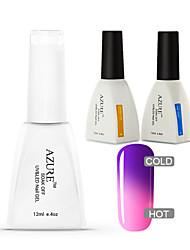 Azure 3 Pcs/Lot  Soak-off Color Changing UV Gel Nail Polish Top and Base Coat for Nail Art Beauty(#14+BASE +TOP)