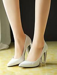 Calçados Femininos - Saltos - Saltos - Salto Grosso - Branco - Couro Envernizado - Casual