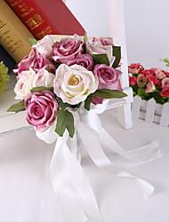 Bouquet sposa Tondo Rose Peonie Bouquet Matrimonio Partito / sera Raso Seta 24cm