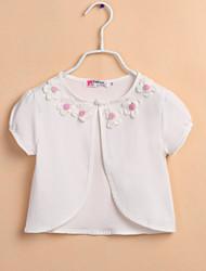 Kinder wickelt Boleros einfarbig Polyester süße Blumen Boleros weiß / pink bolero Achselzucken