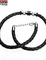 316L Stainless Steel IP Black Beats Black Genuine Cow Leather Necklace for Unisex