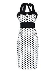 50s halter de Maggie tang mujeres lunares marilyn rockabilly modela del vintage cos vestido del lápiz del partido 565