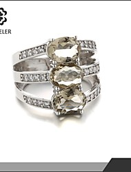 Statement Rings Zircon Cubic Zirconia Platinum Plated Fashion Light Brown Jewelry Party 1pc