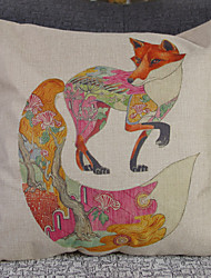Retro Hand-Painted Fox Pillowcase Composite Flax Mouldproof Absorb Sweat Breathe Freely