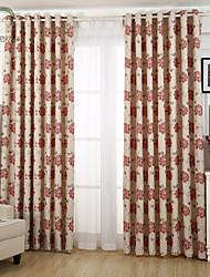 um painel flor vermelha cortina jacquard